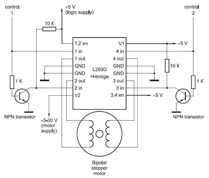 Схема управления шаговым двигателем 4 вывода фото 483